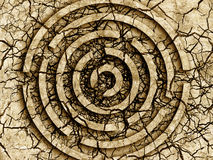 Labyrinth Dry and cracked earth. Royalty Free Stock Photo