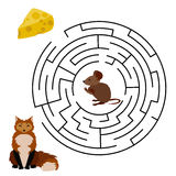 Labyrinth education Game for Children. Vector Maze, Labyrinth education Game for Children with Mouse, Cheese and Fox Royalty Free Stock Image
