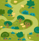 Labyrinth forest. Cartoon labyrinth forest. Hand drawn vector illustration Royalty Free Stock Image