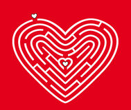 Labyrinth in form of heart in red Stock Photo