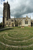 Labyrinth in front of Church of St. John in Glastonbury town, Somerset, England, UK Royalty Free Stock Images