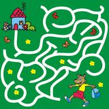 Labyrinth, game for children, wolf go to the house. Find the right path, vector icon Royalty Free Stock Image