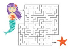 Labyrinth game, help the mermaid to find a way out of the maze, cute cartoon character, preschool worksheet activity for kids,. Task for the development of stock illustration