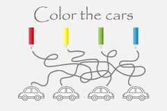 Labyrinth game, maze and coloring the cars, preschool worksheet activity for kids, task for the development of logical thinking, vector illustration