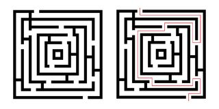 Labyrinth , game maze. Isolated on white background Royalty Free Stock Photo