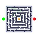 Labyrinth game. Three entrance, one exit and one right way to go. But many paths to deadlock. Vector illustration. Eps 10 Royalty Free Stock Images