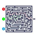 Labyrinth game. Three entrance, one exit and one right way to go. But many paths to deadlock. Vector illustration. Eps 10 Royalty Free Stock Photography