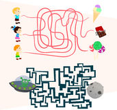 Labyrinth games set for preschoolers find the way. Beautiful Labyrinth games set for preschoolers find the way Stock Photo