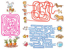 Labyrinth games set for preschoolers: find the way or match elements. Colorful cartoon Stock Photography