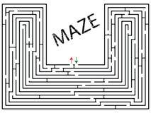 Labyrinth gegen Weiß Stockfoto