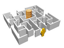 Labyrinth and gold coins Stock Image