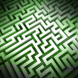 Labyrinth green light structure perspective upper view Stock Images