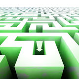 Labyrinth green structure in perspective with arrow Stock Photo