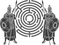 Labyrinth and guards Royalty Free Stock Images
