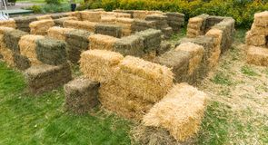 Labyrinth of haystacks outdoors Royalty Free Stock Image