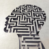 Labyrinth in the head. 3D Rendering Stock Photo
