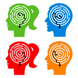 Labyrinth in the heads. Male and female head silhouettes with maze symbolizing psychological processes of understanding. Vector illustration Stock Images