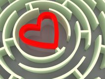 Labyrinth and heart Stock Images