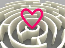 Labyrinth and heart Stock Photo