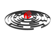 Labyrinth with a house, 3d rendering Stock Photo