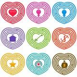 Labyrinth-Ikonen: Ziele für das Leben, Labyrinthe Stockfoto