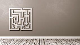 Labyrinth im Raum mit Kopien-Raum lizenzfreie abbildung