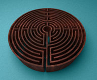 A labyrinth  in interiors perspective on background texture Royalty Free Stock Photo