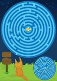 Labyrinth-Katze-Entdeckung-Fische zwei Möglichkeiten Lizenzfreies Stockfoto