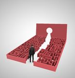 Labyrinth with keyhole. Businessman with briefcase looking at labyrinth with keyhole Royalty Free Stock Photo