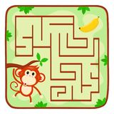 Labyrinth kids game. Help monkey find banana. In jungle.Educational maze game for children concept. Vector flat cartoon illustration icon design. Monkey on tree Stock Images