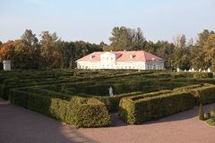 Labyrinth in Lower Garden and the Picture House. Oranienbaum. Russia. Royalty Free Stock Image