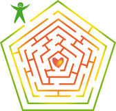 Labyrinth with man and heart. Color labyrinth with man and heart stock illustration