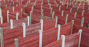 Labyrinth maze complex made of wooden planks Royalty Free Stock Photo