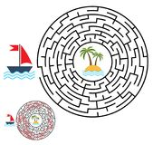 Labyrinth, maze conundrum for kids. Entry and exit. Children puz. Zle game. Help the ship to swim to the island. Vector illustration Royalty Free Stock Photography