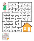 Labyrinth, maze conundrum for kids. Entry and exit. Children puzzle game. Help the girl to get home. Vector illustration Royalty Free Stock Images