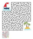 Labyrinth, maze conundrum for kids. Entry and exit. Children puzzle game. Help the ship to swim to the island. Vector illustration Stock Photos