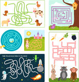 Labyrinth maze conundrum shape rebus logic game search mystery funny puzzle for children vector illustration. Stock Image