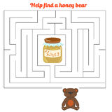 Labyrinth maze find a way bear honey Stock Image