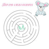 Labyrinth maze find a way koala. Kids layout for game cartoon doodle hand drawn vector illustration Stock Photos