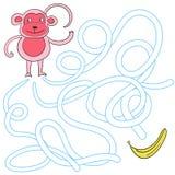 Labyrinth maze find a way monkey Stock Image
