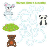 Labyrinth maze find a way panda koala bear. Kids layout for game cartoon hand drawn doodle vector illustration Royalty Free Stock Image