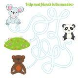 Labyrinth maze find a way panda koala bear Royalty Free Stock Image