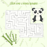 Labyrinth maze find a way panda layout for game Royalty Free Stock Photo