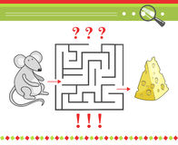 Labyrinth or maze game for children with cartoon Royalty Free Stock Images