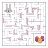 Labyrinth maze game with solution. Easter fun. Help bunny to find path to eggs Royalty Free Stock Image