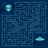 Labyrinth maze game with solution. Help alien. To find path to UFO Royalty Free Stock Photography