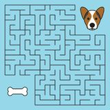 Labyrinth maze game with solution. Help dog. To find path to bone stock illustration