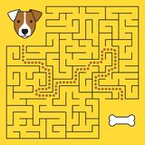 Labyrinth maze game with solution. Help dog. To find path to bone Stock Photos
