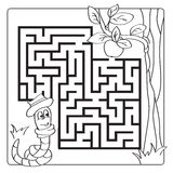 Labyrinth, maze for kids. Entry and exit. Children puzzle game - coloring book. Labyrinth, maze for kids. Entry and exit. Children puzzle game. Help the worm to vector illustration