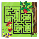 Labyrinth, maze for kids. Entry and exit - Help the worm to crawl to apple royalty free stock images